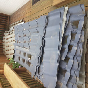 Used aluminum shingles for sale: ~20 pieces, 4ft. x 7 ft. size.