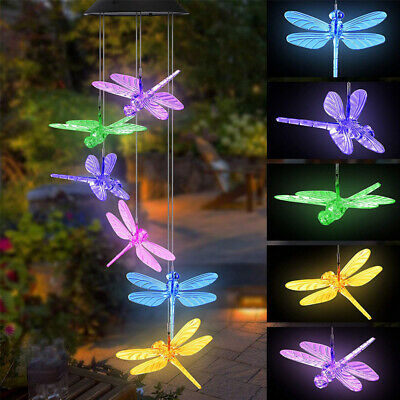 Color Changing Solar Powered LED Dragonfly Wind Chime Light Outdoor Decor Lamp ()