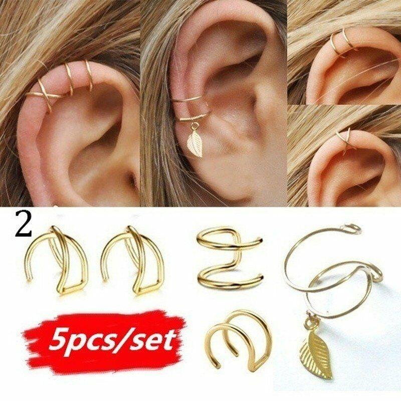 5Pcs/Set Gold Leaf Ear Cuff Clip Earrings Women Climbers No