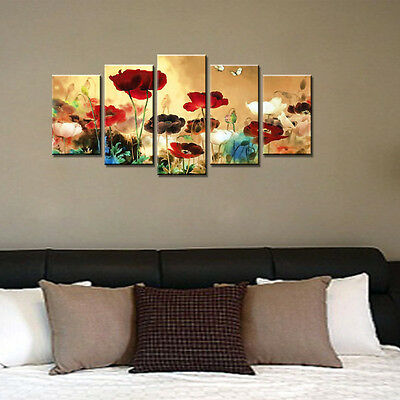Painting Picture Canvas Print Golden Flower Landscape Wall Art Home Decor Framed