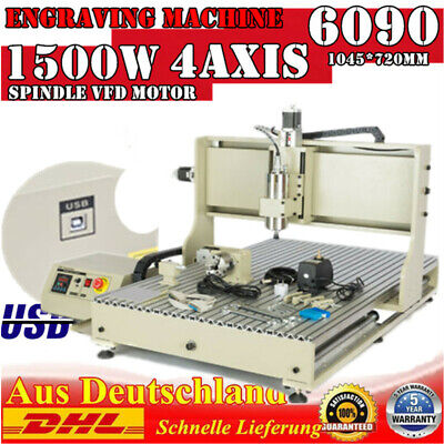 Usb 4 Axis Cnc 6090z Router Engraver 3d Metal Milling Cutting Machine 1.5kw 110v