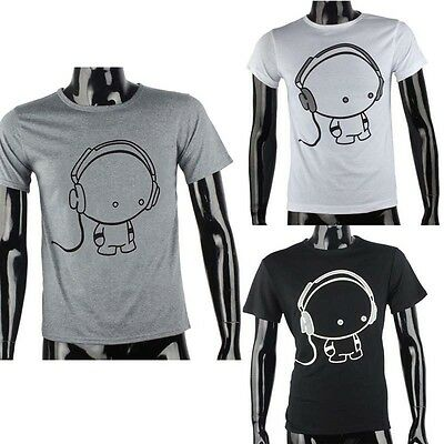 Fashion Men Boy Print Cotton Tees Shirt Short Sleeve Earphone Tops Sport Clothes
