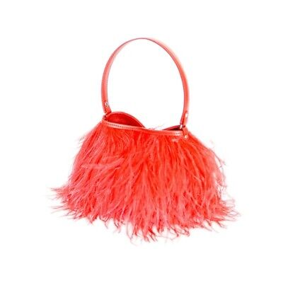 he,Federbag,Tasche mit Straussenfedern,Federn,Ostrich in rot (Tasche Mit Federn)