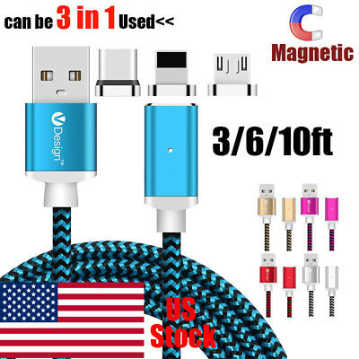 US Strong Magnetic Type-C Micro 3 in1 Fast Charging Cable Charger For iPhone - Magnetic Type