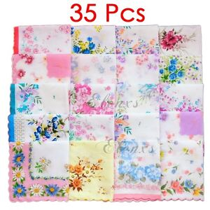 Lot-35Pcs-Ladies-Child-100-Cotton-Flower-Vintage-Handkerchiefs-Quadrate-Hankies