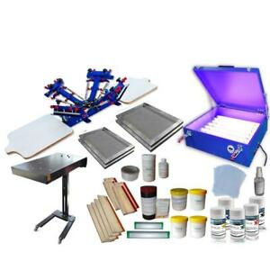 4 color 2 station Screen Printing Press Kit with Exposure Unit & Flahs Dryer 006980