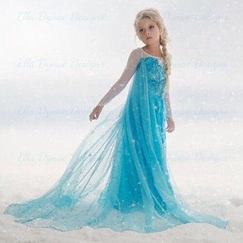 Xmas Girls Disney Elsa Frozen dress costume Princess Anna party dresses cosplay*