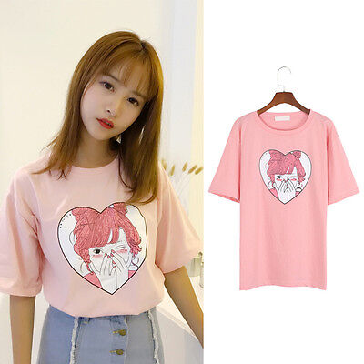 Women Cute Pink Cartoon Print T-shirt Harajuku Short Sleeve Loose O Neck Tops