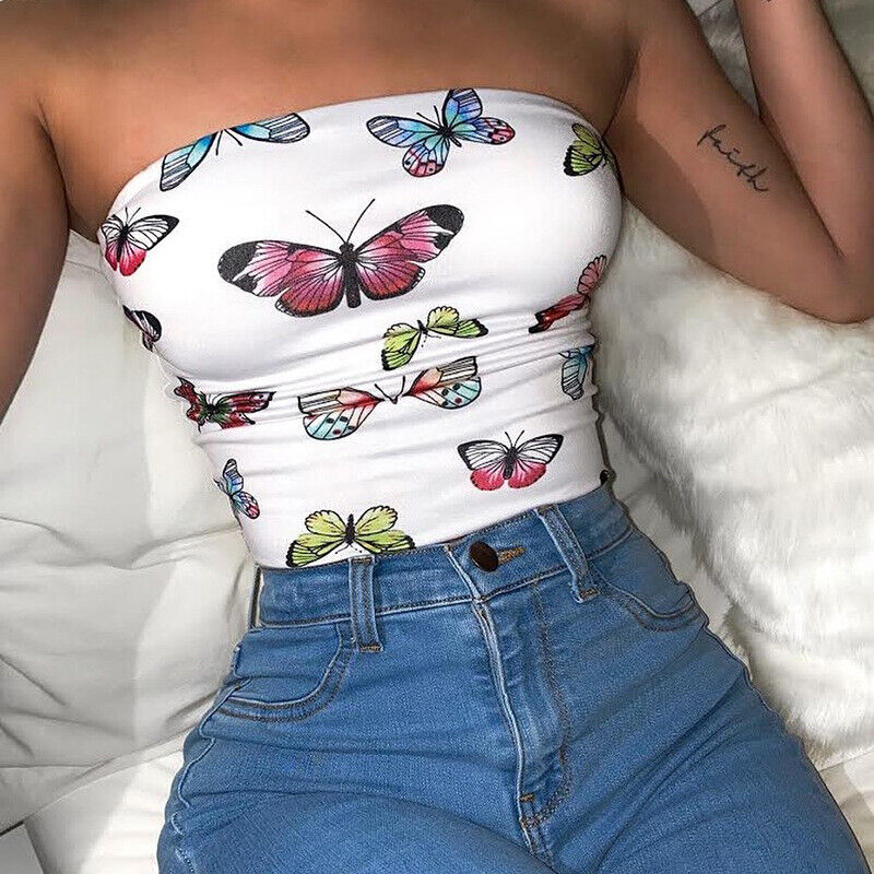 Summer Beach Crop Tube Top Elastic Straples Tight Stretch Bodycon Tank Top Shirt Clothing, Shoes & Accessories