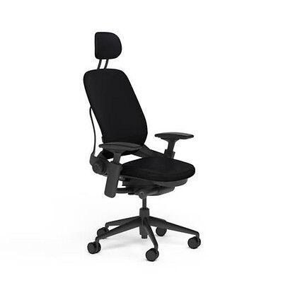 New Steelcase Adjustable Leap Desk Chair Headrest - Black Leather Black Frame