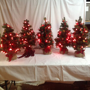 Five Traditional Tabletop Christmas Trees with Holly Berry Light