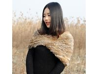 DAYMISFURRY--Real Rabbit Fur Knit Snood -Natural Brown