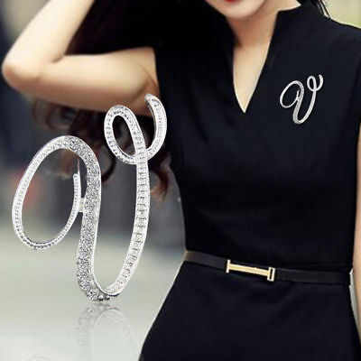 Chic A-Z Alphabet Letter Crystal Brooch Pin Lapel Collar Badge Party Women Jewel