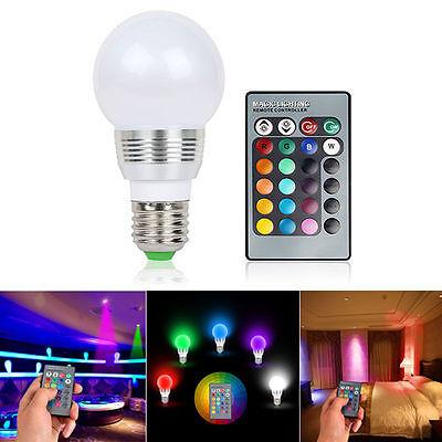 16 Color E27 3W RGB LED Lamp Light Magic Bulb Changing + IR Remote Control