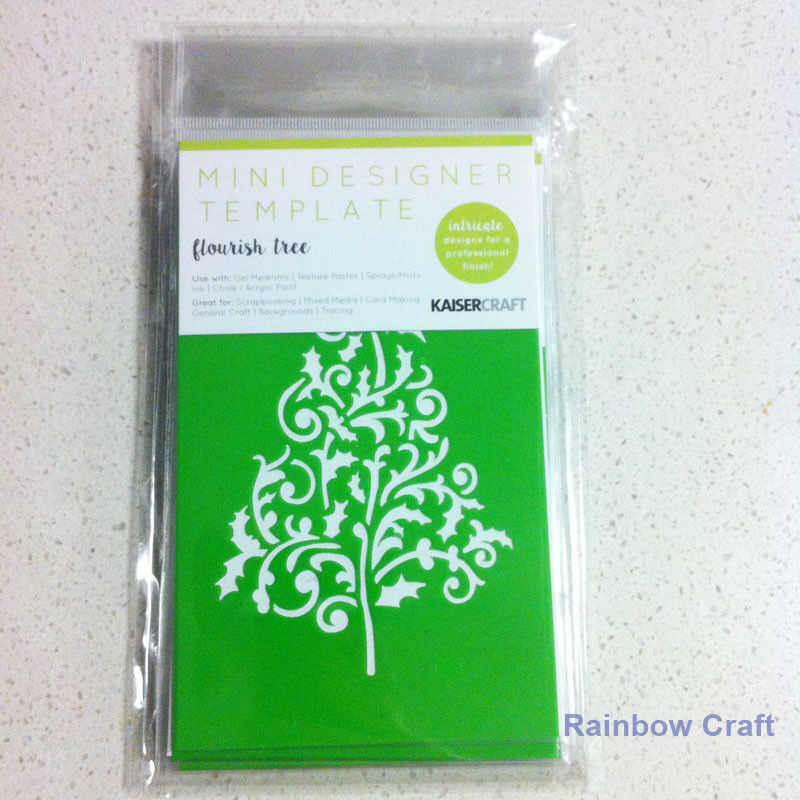 Kaisercraft Mini Designer Templates Stencils Blossom Christmas Holly Leaves - Flourish ree