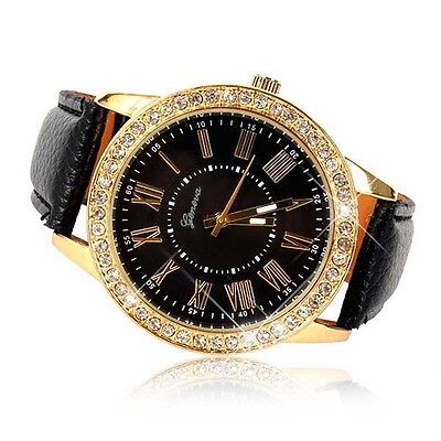 $1.78 - Bling Crystal Women Watch Luxury Leather Strap Round Quartz Wrist Watch Black