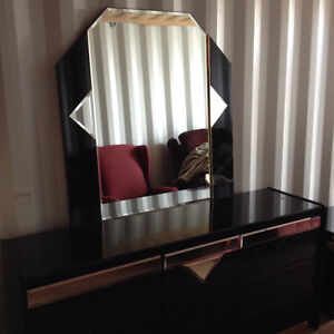 Stylish Black, Gold and Mirrored Dresser and Night Stands