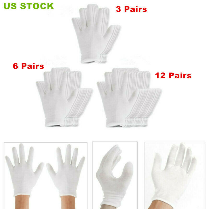 24pcs Thin Reusable Elastic Cotton Work Gloves Mittens Dry H