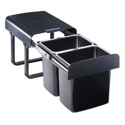 Einbau Abfallsammler 32 L (2x16 L) schwarz ab 40er Schrank Mülleimer Vollauszug