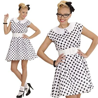 50er Petticoat pünktchen Kleid Rock´n Roll - weiß - Damen Kostüm M 38/40  - Weißer Petticoat Kleid Kostüm