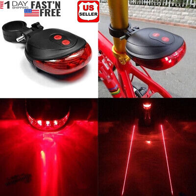 Bike Bicycle Light 5 LED + 2 Laser Rear Tail Flashing Safety Warning Lamp Night