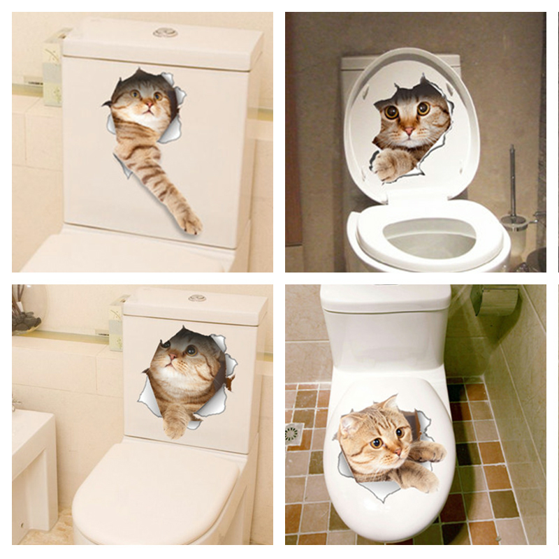Home Decoration - Cat Sticker Wall Bathroom Decal Home Bedroom Decor Kitchen Toilet Mural Vinyl 3D