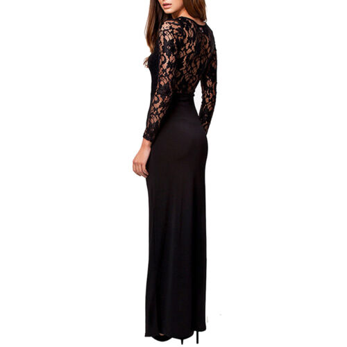 Womens Cocktail Party Evening Lace Dress Bodycon Long Sleeve Floral V-Neck black