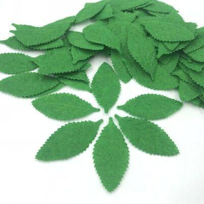 Felt Leaves (100X Green Leaves Felt Card making decoration Applique Cardmaking craft 52mm)