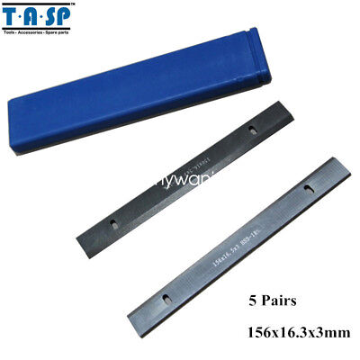 5 Pair Thickness Planer Blades Wood Planing Knife 6 Hss 156x16.3x3mm