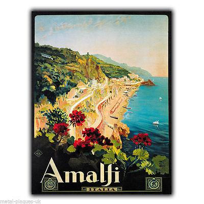 METAL SIGN WALL PLAQUE AMALFI ITALIA COAST Retro Vintage poster advert print
