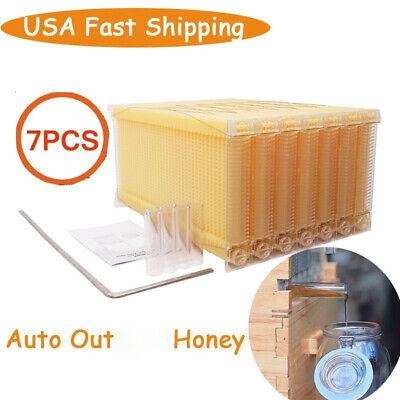 New 7pcs Auto Honey Beehive Frames Kit Beekeeping Honey Raw Bee Hive Harvesting
