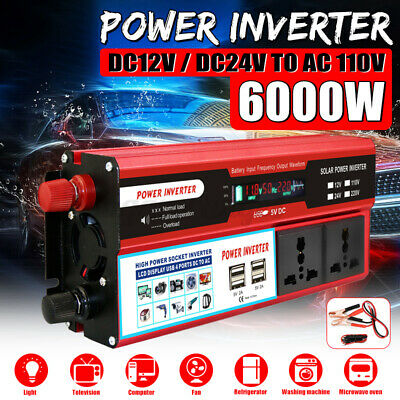 12/24V to 110V 6000W Power Inverter Modified Sine Wave Digital Display+4USB Port