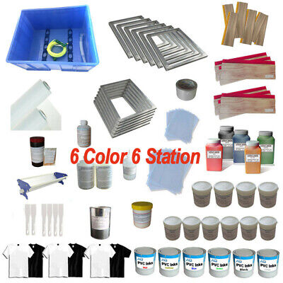 Supplies Package1 Set 6 Colors Screen Printing Materials Kit Professional Kit
