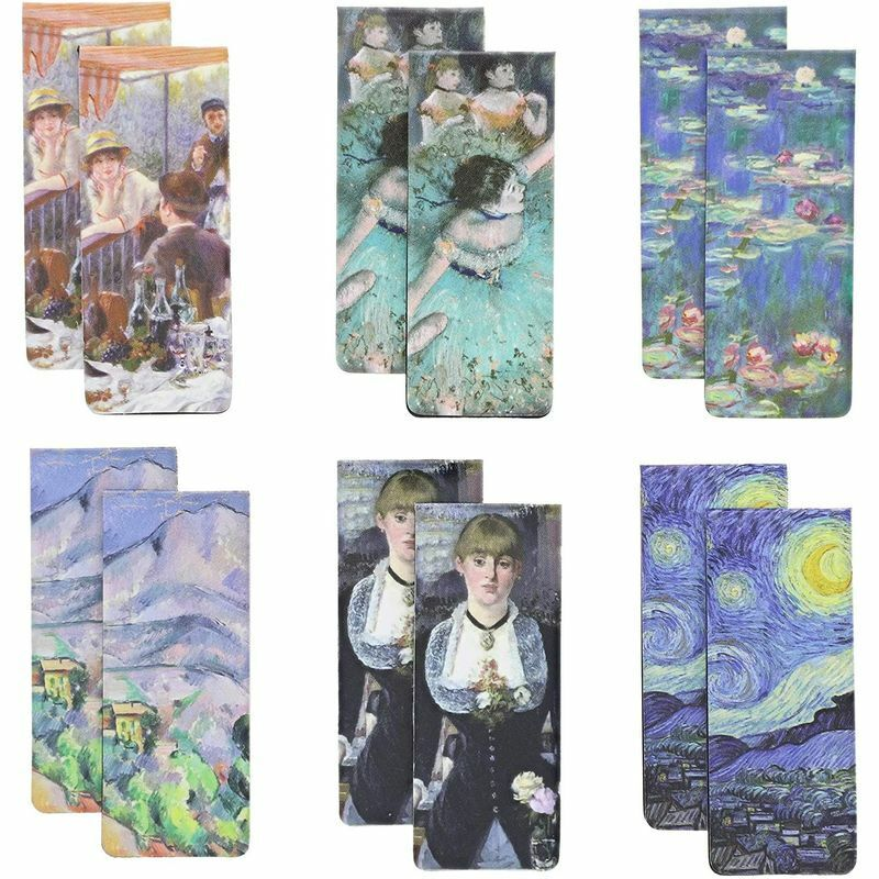 12-Pack Impressionist Inspired Magnetic Bookmarks in 6 Designs (0.8 x 2 inches)