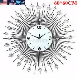 US 60*60CM Metal Round Diamond Wall Clock Home Bedroom Office Living Room