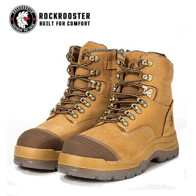 ROCKROOSTER Safety Work Boots Mens Shoes Steel Toe Water Resistant Side Zip