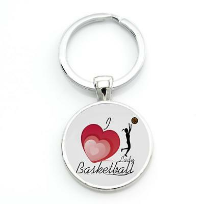 New l love Basketball Girl Shooting Sport Keychain Keyring Gift