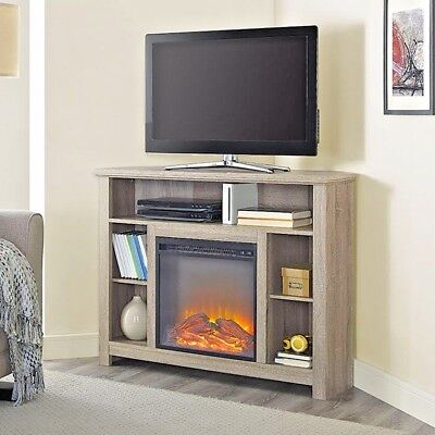 Corner Fireplace TV Stand Wood Storage Cabinet Electric Space Heater Up To 48""