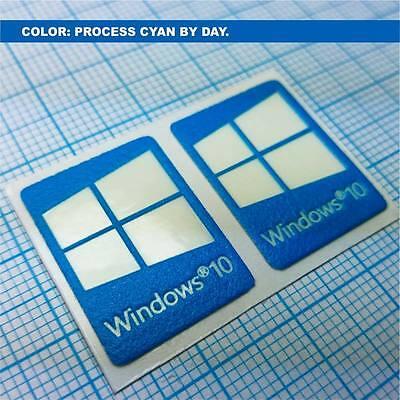 (2 x Windows 10 Sticker. Aufkleber Luminoscent - 250 minutes of self ilumination)