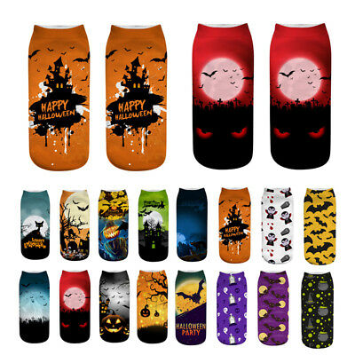New Unisex Harajuku Low Cut Ankle Socks 3D Printed Bat Halloween Theme Fashion (Halloween 3d Theme)