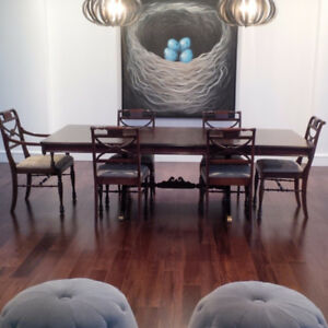 Antique dining table with chairs and hutch