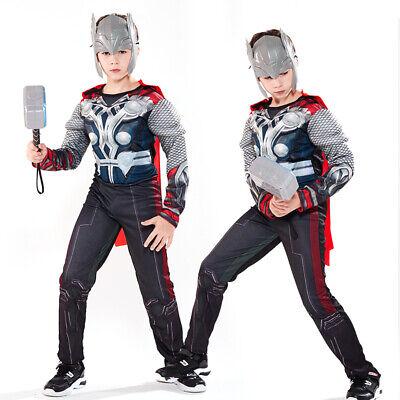 Thor Halloween Costume (Avengers Thor Cosplay Costume Kids Boys Superhero Halloween Fancy Dress)