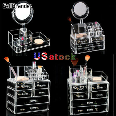 Makeup Jewelry Organizer Display Box Storage Drawers Cosmetics Space Saving US