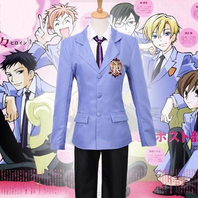Anime Ouran High School Host Club Cosplay Costume Boys Girls Blue Uniform Suit