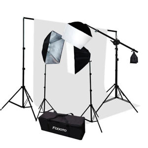 2700w Photo Video Softbox Lighting Kit + White Background