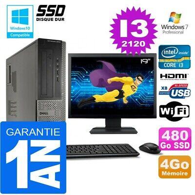 PC DELL 3010 DT Core I3-2120 Ram 4Go Disque 480 Go SSD Wifi W7 Ecran 19