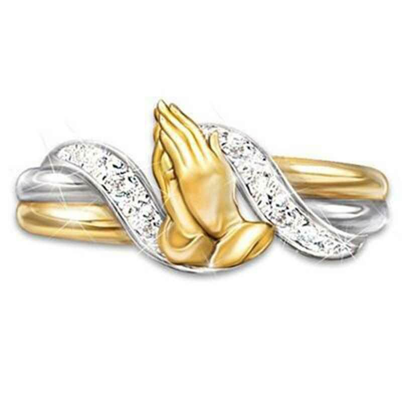Two Tone Praying Hand Gold Plated Rings for Women White Sapp