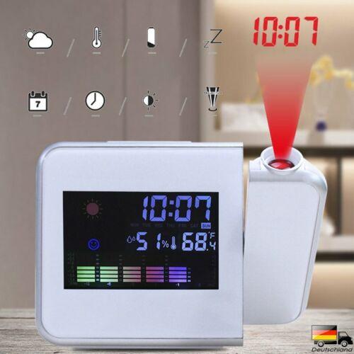 LCD Wecker mit Projektion Snooze, Datum,Temperaturanzeige Alarm Tischuhr