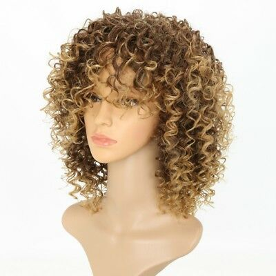 Blonde verworrene lockige Perücke Afro weiche synthetische Perücke Haarteile NEU