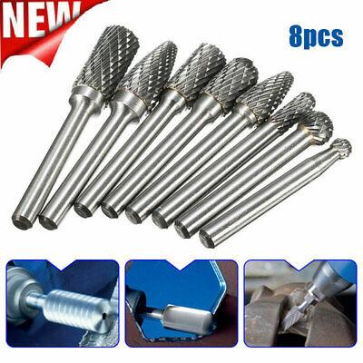 8pcs Tungsten Steel Carbide Rotary Point Burr Die Grinder 14 Inch Shank Bit Set